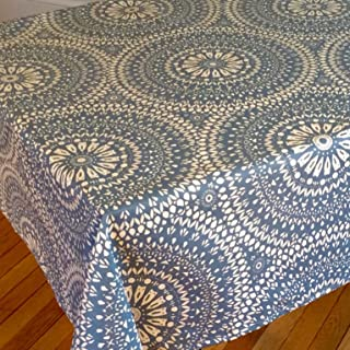 Amelie Michel Wipe-Clean French Tablecloth in Arabik Blue | Authentic French Acrylic-Coated 100% Cotton Fabric | Easy Care, Spill Proof [60