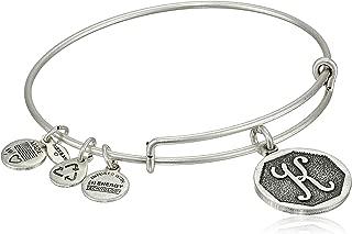 "Alex and Ani Rafaelian Silver-Tone Initial ""K"" Expandable Wire Bangle Bracelet, 2.5"""