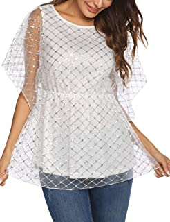 Chigant Women's Sequin Blouse Glitter Tops Sparkly Beaded Evening Formal Party Dressy Cocktail Shirts