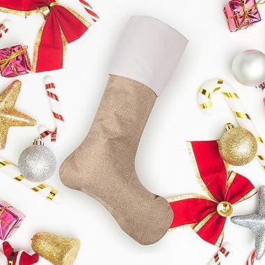 Eeoyu 11 Packs Burlap Christmas Stockings, Xmas Burlap Cotton Fireplace Hanging Stockings Decoration Stockings for Christmas