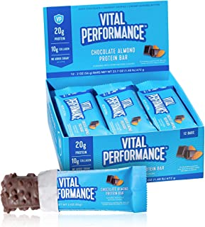 Vital Performance Protein Bar, Healthy Snacks, 20g of Protein, 10g of Collagen Peptides, Gluten Free, 2-3g of Sugar, Low L...
