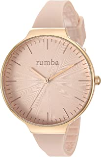 RumbaTime Women's Orchard Wave Stainless Steel Japanese-Quartz Silicone Strap, Pink, 12 Casual Watch (Model: 28706