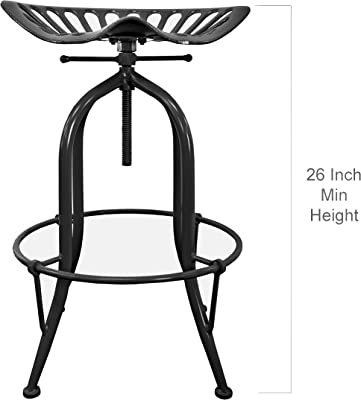 NACH Vintage Style Adjustable Tractor Seat Bar Stool with Circle Base Foot Rest , 19.5x14