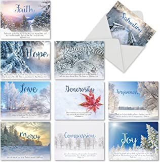 10 Assorted Holiday Devotions Christmas Cards with Envelopes (4 x 5.12 Inch) - Boxed Season's Greetings Cards for Holidays, Winter Wonderland, Uplifting Bible Quotes M6661XSB