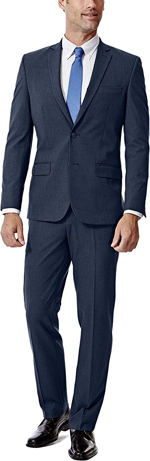 J.M. Haggar 4-Way Stretch Solid 2-Button Slim Fit Suit Separate Coat, Blue, 40XL with Separate Pant, Blue, 36Wx32L