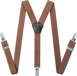Braces Suspenders for Kids Men - Adjustable Elastic Leather Suspenders by Kajeer