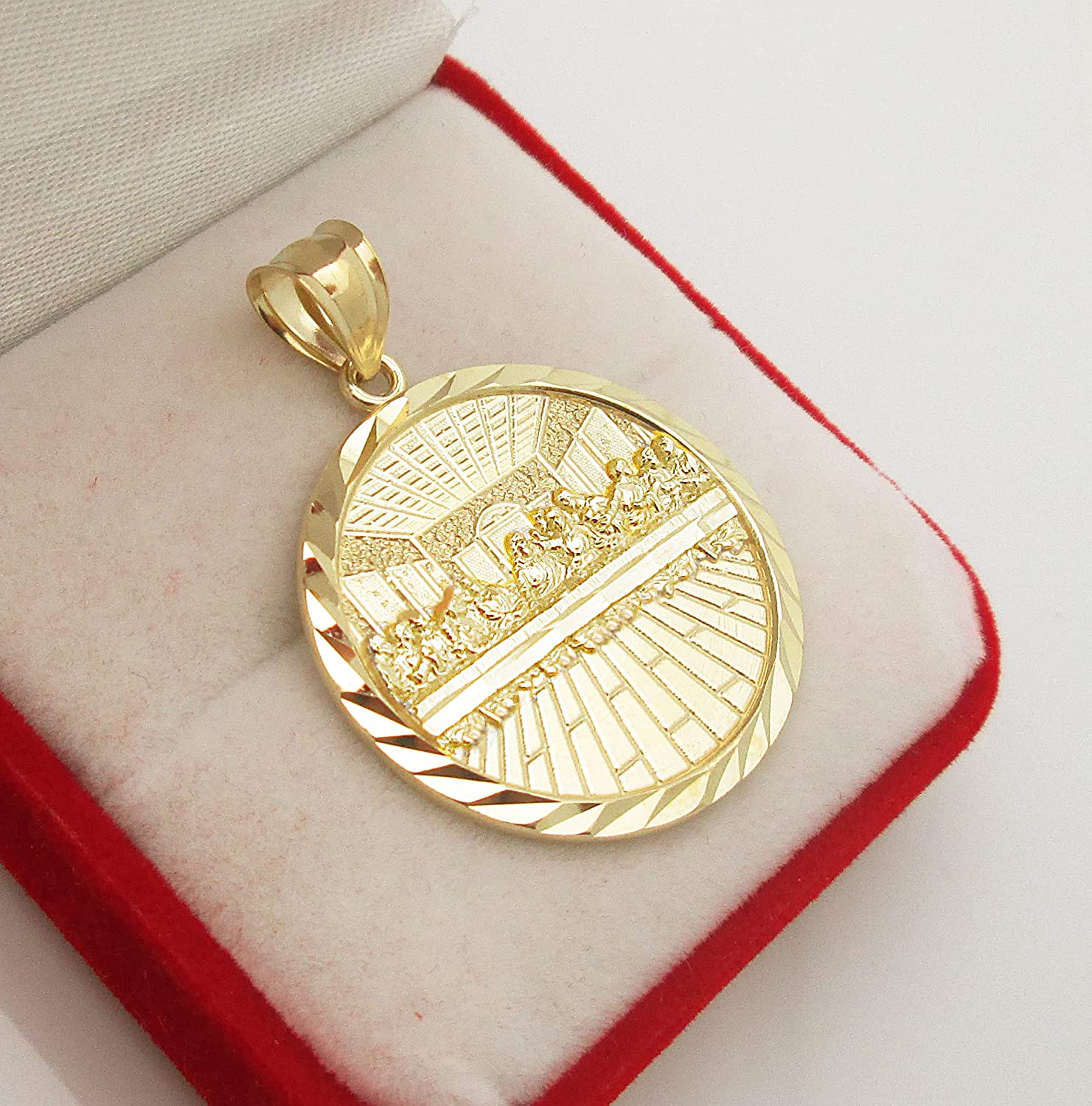AMZ Jewelry 10K Gold Last Supper Pendant Charm Last Supper Medal 1.5 in