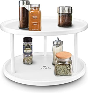 ENLOY Lazy Susan, 2-Tier Turntable 360-degree Tray Rotating Organizer, Kitchen Spices Tableware Service, Powder Coated Iron Stainless Steel, White, 10.5 x 5.8 in