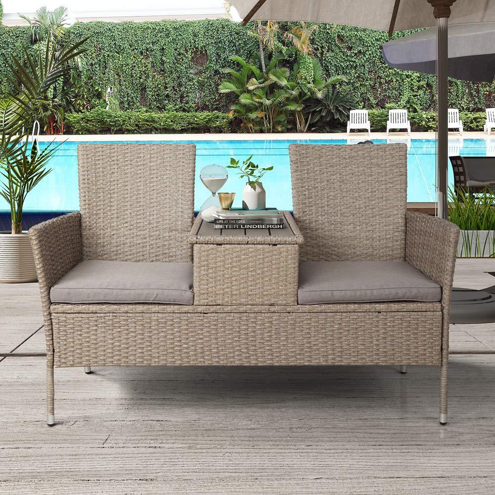 HOMMOO - Juego de Mesa y sillas de jardín de Mimbre de Polietileno con Cojines extraíbles y Mesa de café de Madera para jardín y Patio: Amazon.es: Jardín