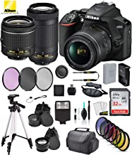 "$604 » Nikon D3500 DSLR Camera with 18-55mm Lens, Nikon AF-P 70-300mm Lens USA (1588) with Accessory Bundle – Includes SanDisk Ultra 32GB SD Card + 9PC Filter Kit + 57"" Tripod + More"