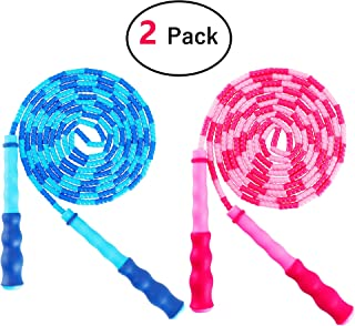 Amble 2 Pack Jump Rope Soft Beaded Segment Jump Rope – Adjustable for Men, Women..