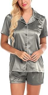 ZHENWEI Pajamas for Women Satin Pj Sets Button Sleepwear Short Sleeve Silky Pyjama