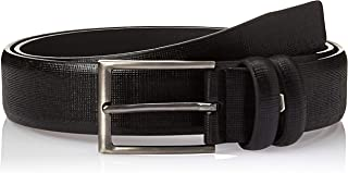 SHADOW Men's Casual Belt PU Leather Classic Dress Belt Single Prong Buckle, Black
