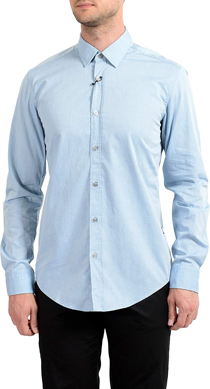 Hugo Boss Men's Ronni_2 Slim Fit Long Sleeve Casual Shirt US M IT 50 Blue/White