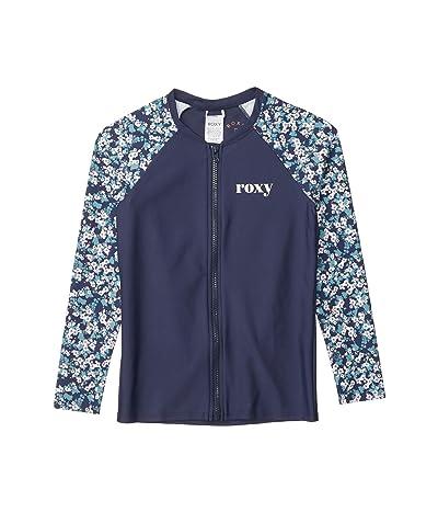 Roxy Kids Your Magic Long Sleeve Zip Rashguard (Big Kids) (Mood Indigo Grand Ma) Girl