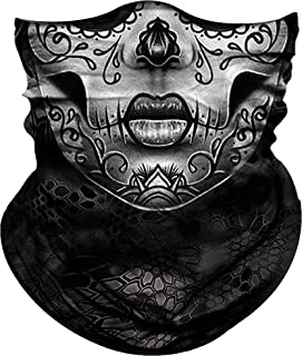 Obacle Skull Face Mask for Women Men Dust Wind UV Sun Protection Seamless Bandana Face Mask for Rave Festival Motorcycle Riding Biker Fishing Hunting Outdoor Running Tube Mask Multifunctional Headwear