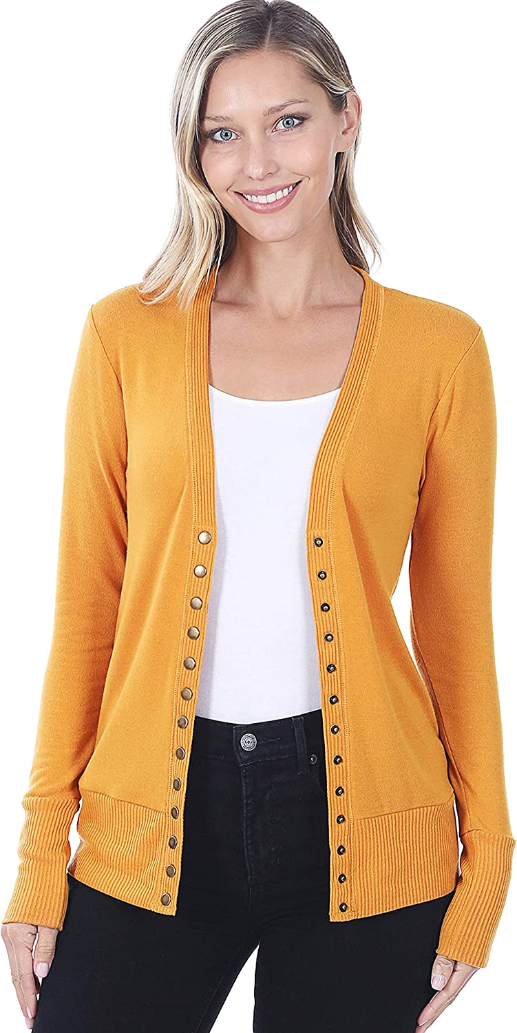 Zenana SNAP Button Sweater Cardigan with Ribbed Detail (from Small to 3X)