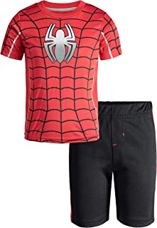 0dd9af81 Marvel Avengers Black Panther Spiderman Hulk Boys' Athletic T-Shirt & Mesh Shorts  Set
