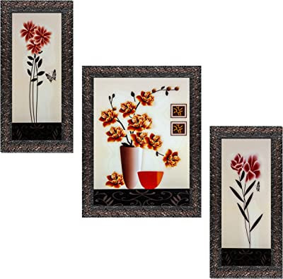 Indianara Set of 3 Multi Colored Flowers in the Pot Framed Art Painting (3600GBN) without glass 6 X 13, 10.2 X 13, 6 X 13 INCH