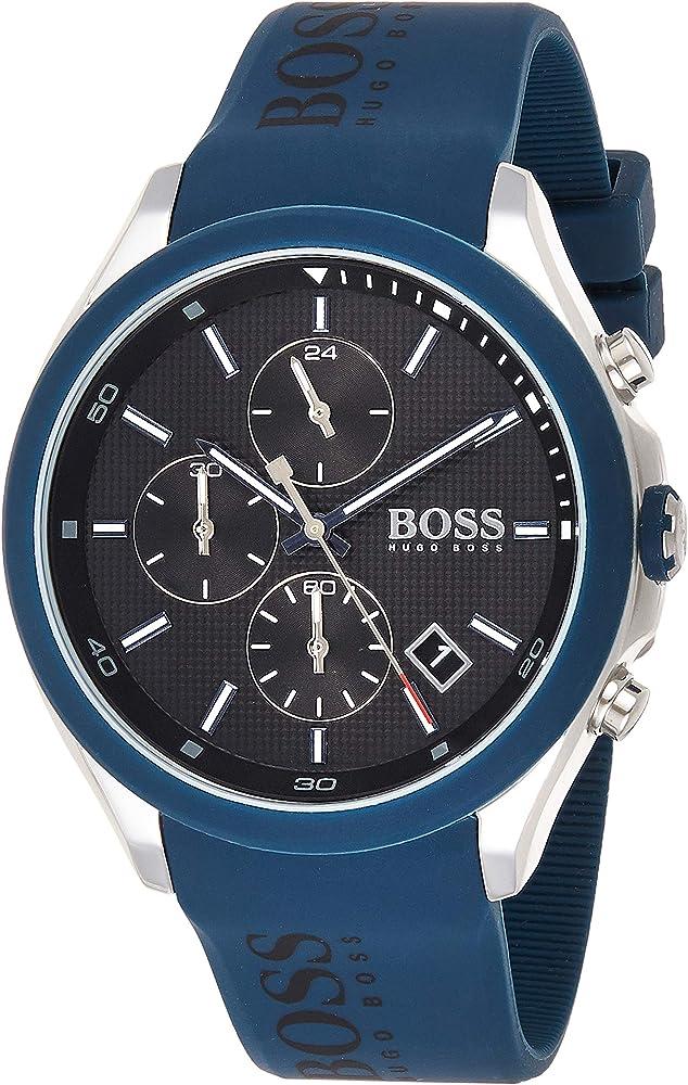 Hugo boss,orologio con cronografo per uomo, in acciaio e cinturino in silicone 1513717