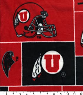 College University of Utah Utes Print Fleece Fabric By the Yard