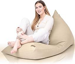 Aiire Moderne zitzak XXL voor woonkamer, grote bean bag zonder vulling, voor decoratie van de kamer, groot vloerkussen beige