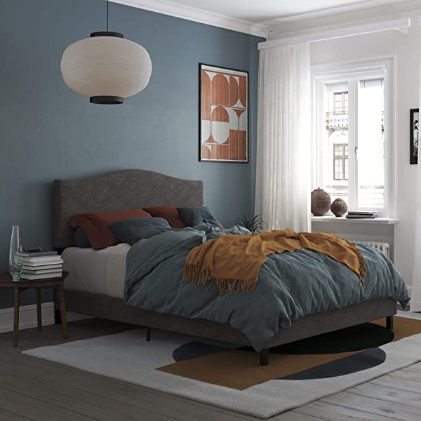 REALROOMS Mason Upholstered Bed Queen Bed Frame Grey Linen