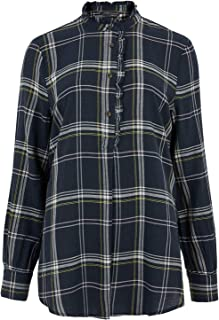 Marks & Spencer Women's Cotton Checked Frill Detail Tunic, NAVY MIX