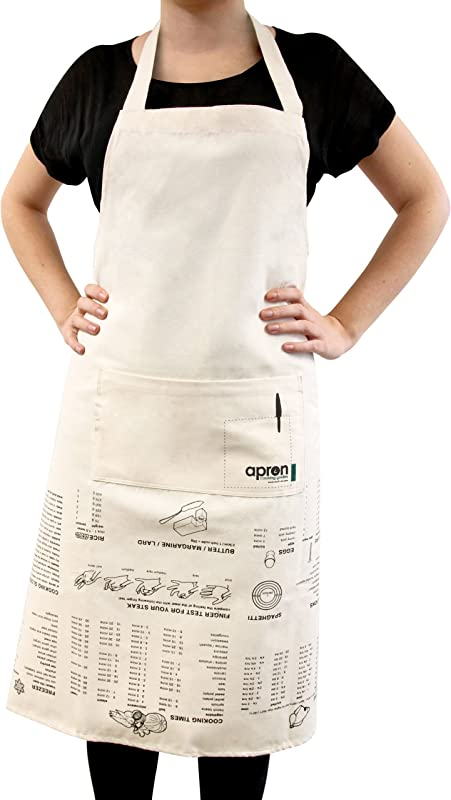 Suck UK SK APRONGUIDE1 Apron Cooking Guide Full Length And 100 Unbleached Cotton Canvas Cream