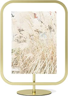 Umbra Infinity Sqround 5x7 Rectangular Picture Frame, Floating Photo Display for Desk or Wall, 5 x 7, Brass