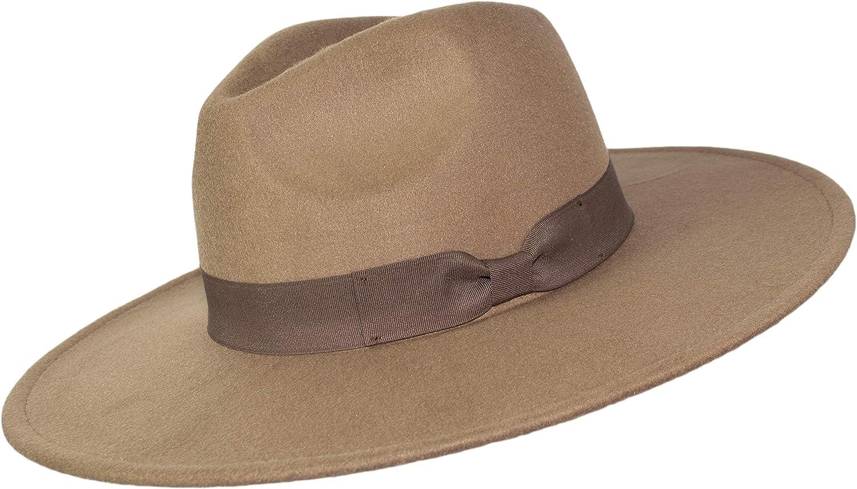 Rising Phoenix Industries Large Felt Flat Wide Brim Panama Fedora Rancher Hat, Wide Brimmed Bolero Gangster Hat