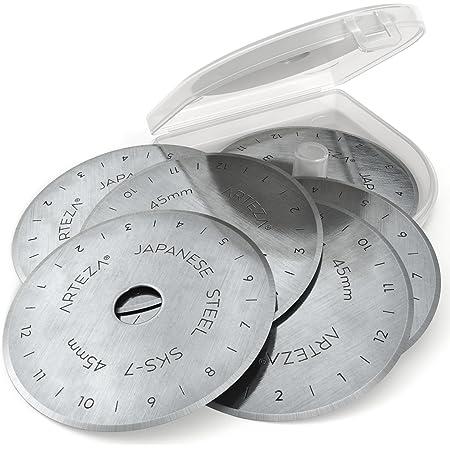 ARTEZA Lames de Remplacement pour Cutter Rotatif 45 mm pour Patchwork, Convient pour Cutter Olfa et Fiskars, Acier Durable Haut de Gamme SKS-7 (Boîte Plastique de 6)