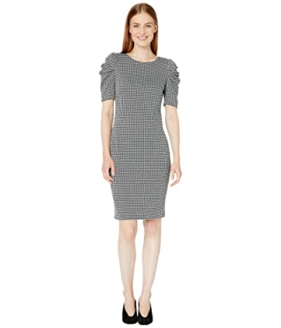 Calvin Klein Houndstooth Puff Sleeve Dress (Black/Cream/Malachite) Women
