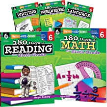 180 Days of Sixth Grade Practice, 6th Grade Workbook Set for Ages 10-12, Includes 5 Assorted Sixth Grade Workbooks to Practice Math, Reading, Grammar, ... Problem Solving Skills (180 Days of Practice)