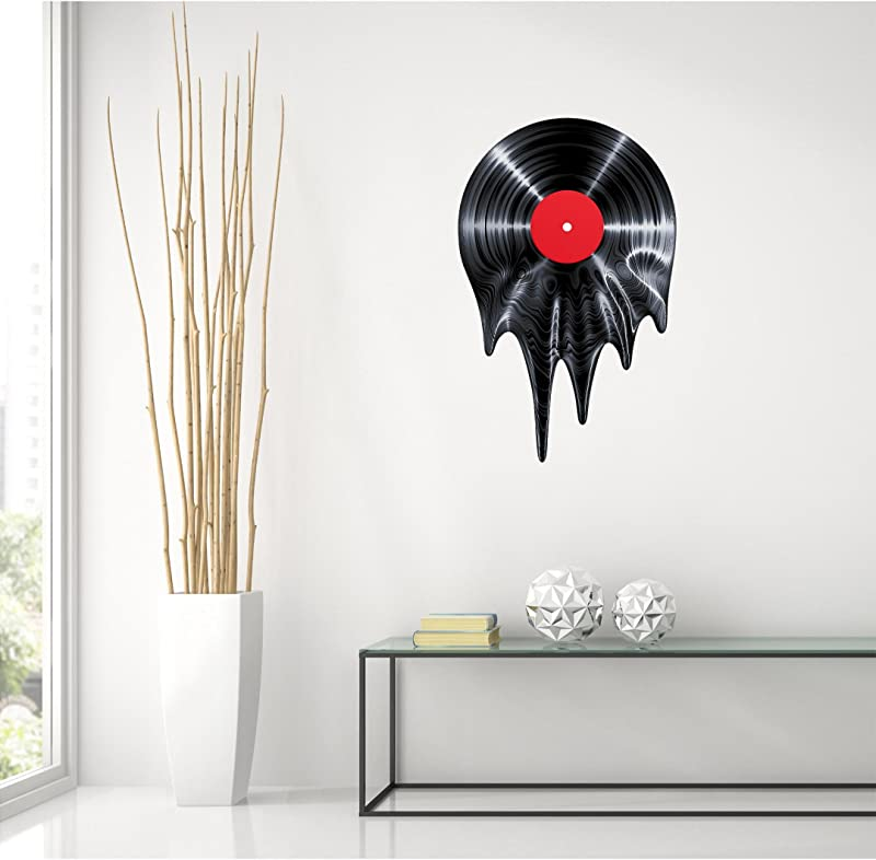 24 Melting Record Wall Decal Vinyl Graphic 50 S 60 S 70 S Music Tunes Radio Home Kids Room Man Cave Teen Bedroom Living Room Office Art Decor NEW