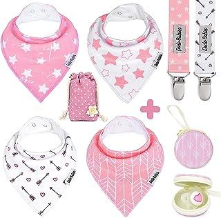 Dodo Babies Baby Bandana Drool Bib Set - 4pc Infant Bibs with 2 Pacifier Clips, Binky Case, Gift-Ready Bag - Soft Absorben...