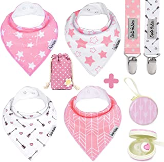 Baby Bandana Drool Bibs by Dodo Babies For Girls + 2 Pacifier Clips + Pacifier Case in a Gift Bag, Pack of 4 Premium Quality, Excellent Baby Shower / Registry Gift