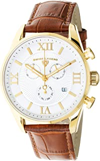 Swiss Legend Men's Belleza Analog Swiss Quartz Watch White Dial and Gold Stainless Steel Case with Brown Leather Strap 22011-YG-02-BR
