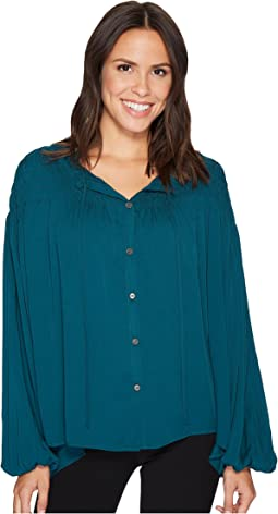 Gathered Yoke Peasant Sleeve Top