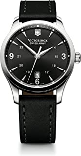 Victorinox Alliance Black Dial Leather Strap Mens Watch 241474XG (Renewed)