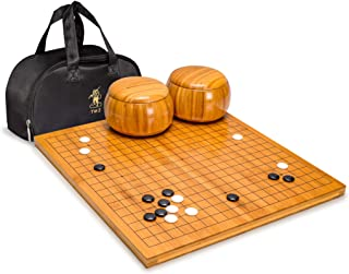 Yellow Mountain Imports Bamboo 0.8-Inch Reversible 19x19 / 13x13 Go Game Set Board with Single Convex Melamine Stones and ...