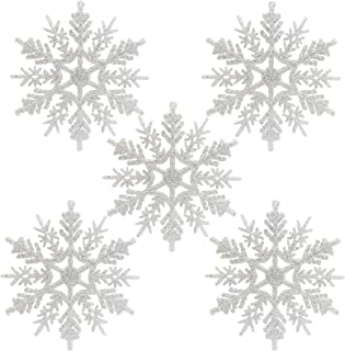 Naler Plastic Snowflake Ornaments, 24pcs White Glitter Snowflake Ornaments on String Hanger for Decorating, Crafting, Wedding and Embellishing (4