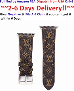 GGNYC 42/44MM Compatible Apple Watch Straps, Luxury Fashion PU Leather Classic Wrist Bands for Women and Men, Replacement for Apple Watch Series 4 3 2 1 42mm (fit for 44mm) (Small Monogram)