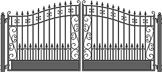ALEKO DG12VEND Venice Style Dual Swing Galvanized Steel Driveway Security Gate 12 x 6 Feet Black