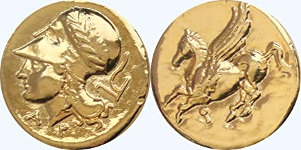 Golden Artifacts Athena and Pegasus, Famous Greek Coin, Annabeth's Mom, Percy Jackson Teen Gift, Unique Gift, Stocking Stuffer (PJ43-G)