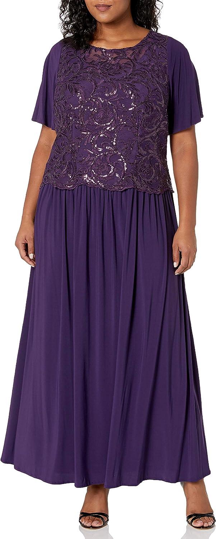 Le Bos Women's Embellished Sequins Flared Sleeve Long Dress