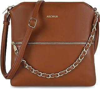 Lightweight Soft Medium Crossbody Purse Bag with Chains Zipper Pocket