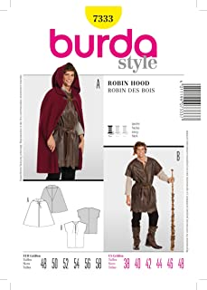 BURDA STYLE 7333 ROBIN HOOD COSTUME CAPE, SHIRT SEWING PATTERN MENS SIZES: 38 40 42 44 46 48