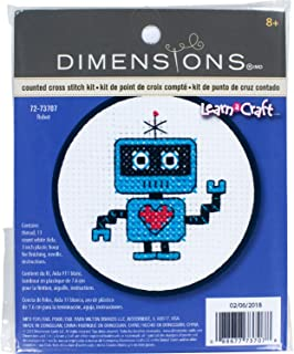 Dimensions Learn-A-Craft Robot Mini Counted Cross Stitch Kit for Beginners, 3''