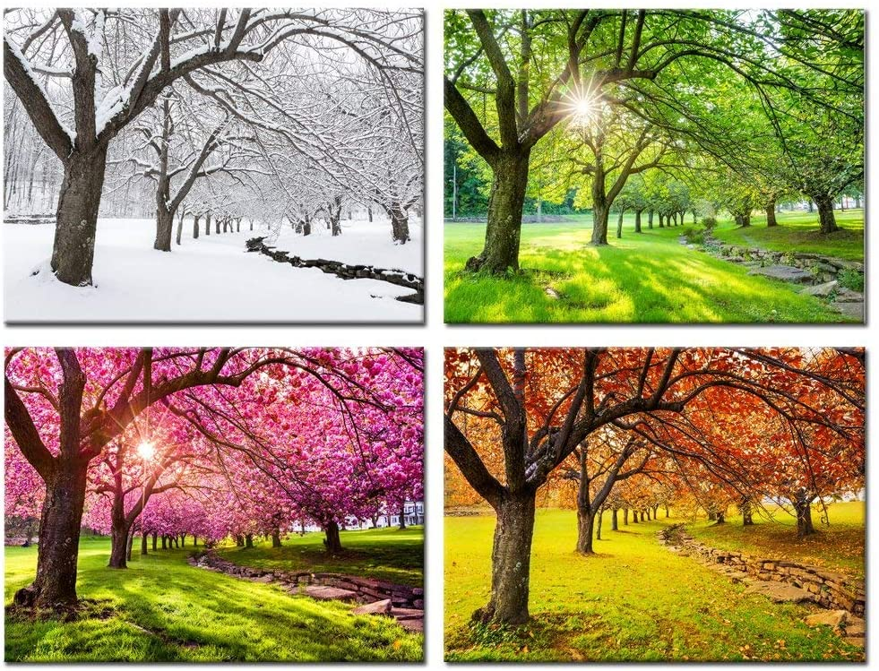 Buy Kreative Arts 4 Piece Canvas Wall Art Spring Summer Autumn Winter Four  Seasons Landscape Colorful Tree Painting Picture Prints Modern Giclee  Artwork Stretched Framed Bathroom 12x16inchx4pcs Online in Indonesia.  B07D3T7B3Y